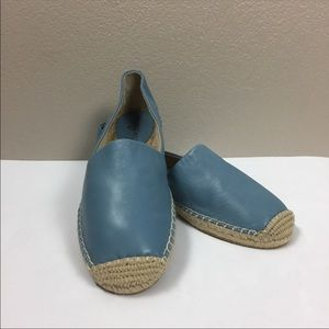New Sam Edelman Blue Leather Flat Rope Espadrilles